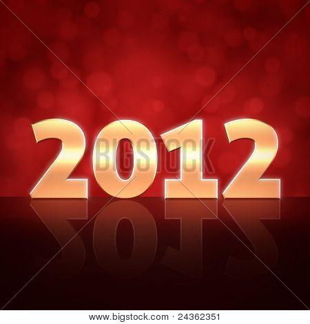 Feliz ano novo de 2012 3d fundo de mensagem