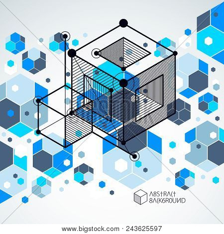 Engineering Technological Blue Vector 3d Backdrop Made With Cubes And Lines. Illustration Of Enginee