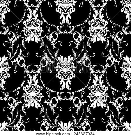 Baroque Black White Seamless Pattern. Luxury Floral Background Wallpaper With Damask Flowers, Scroll