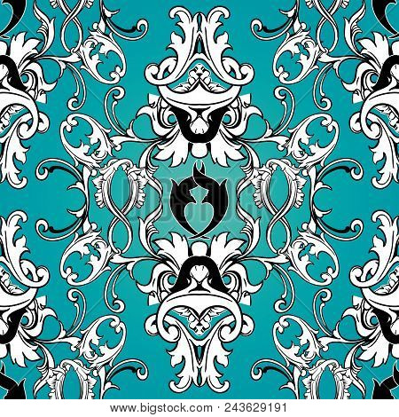 Damask Floral Seamless Pattern. Light Blue Background Wallpaper With Black White Scroll Swirl Leaves