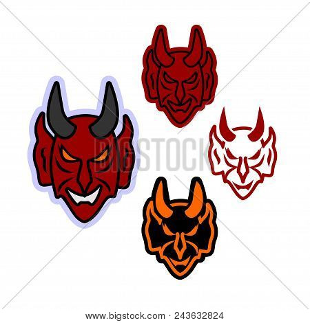 Simple vector icon for the face of the devil. Flat clipart of a terrible horned head with an evil smile can be used as an element of design, for embroidery or engraving poster