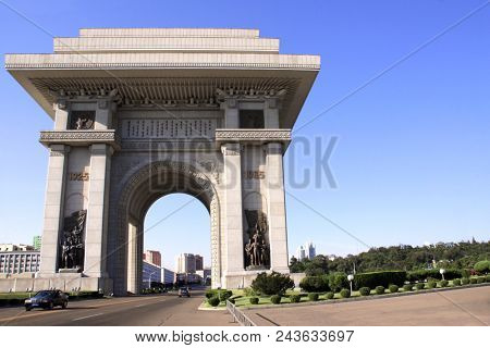 NORTH KOREA, PYONGYANG - SEPTEMBER 14, 2017: Arch of Triumph. A monument built in Pyongyang in honor of the Korean resistance of 1925-1945 against the Japanese occupiers. North Korea (DPRK)