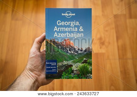 Nitra, Slovakia, June 4, 2018: Lonely Planet Georgia, Armenia And Azerbaijan Travel Guide Book. Lone