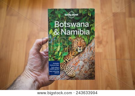 Nitra, Slovakia, June 4, 2018: Lonely Planet Botswana And Namibia Travel Guide Book. Lonely Planet I