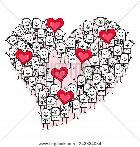 Vector Cartoon Group Of People Making A Heart Shape