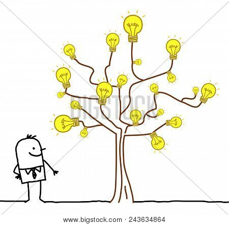Vector Cartoon Businessman Watching A Light Bulb Tree