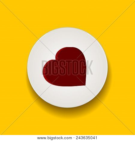 Decorative Red Heart In A White Disc With Shadow Over Yellow Background