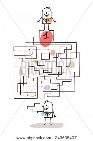Vector Cartoon Businessman With Maze And Leadership