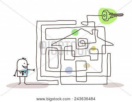 Vector Cartoon Businessman With Maze And Key