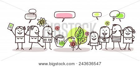 Vector Cartoon Group Of People And Spring Time