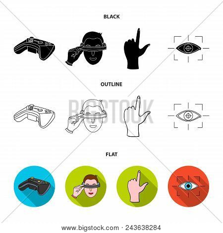 Virtual, Reality, Helmet, Computer, Technology, .virtual Reality Set Collection Icons In Black, Flat