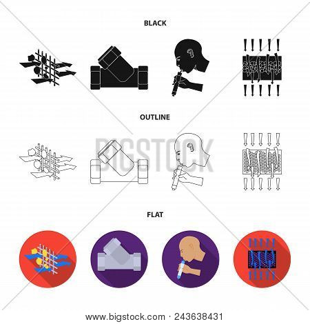 System, Balloon, Hand, Trial .water Filtration System Set Collection Icons In Black, Flat, Outline S