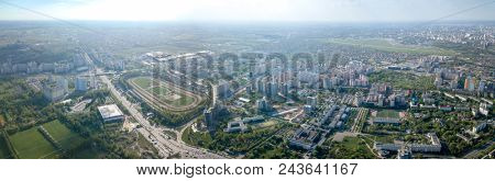 Aerial panoramic view from the drone, a view of the bird's eye view of the city of Kiev, a view of the racecourse and the runway Kiev Sikorsky airport in Zhulyany.