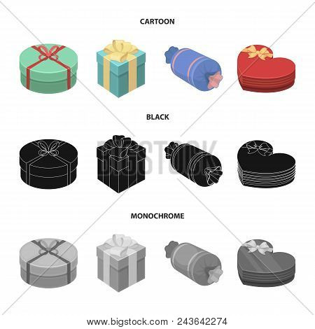 Gift Box With Bow, Gift Bag.gifts And Certificates Set Collection Icons In Cartoon, Black, Monochrom