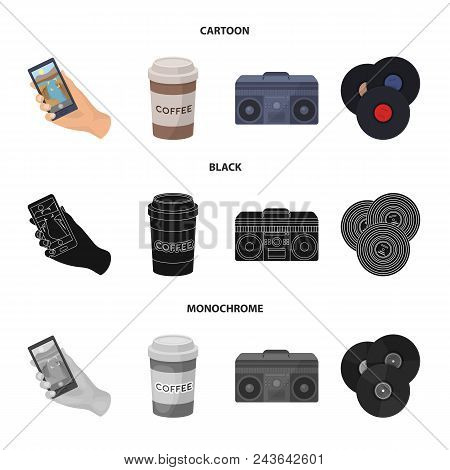 Hipster, Fashion, Style, Subculture .hipster Style Set Collection Icons In Cartoon, Black, Monochrom