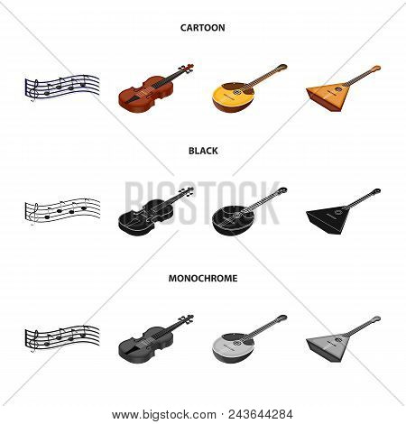 Musical Instrument Cartoon, Black, Monochrome Icons In Set Collection For Design. String And Wind In