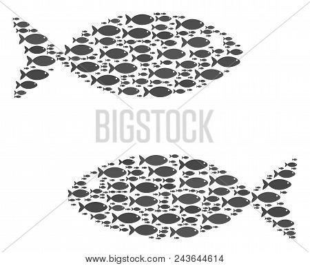Fish Pair Vector Composition. Abstraction Is Made From Fish Items In Various Sizes. Seafood Elements