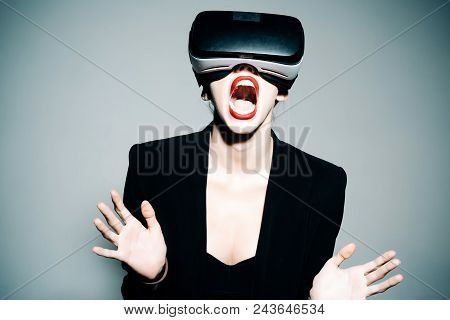 Virtual Reality Goggles. Woman In Vr Headset. Connection, Future Technology, Progress Concept - Exci