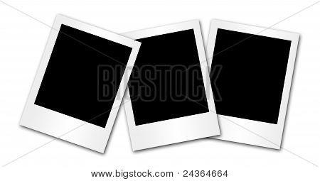 3 blank photo frames isolated on white