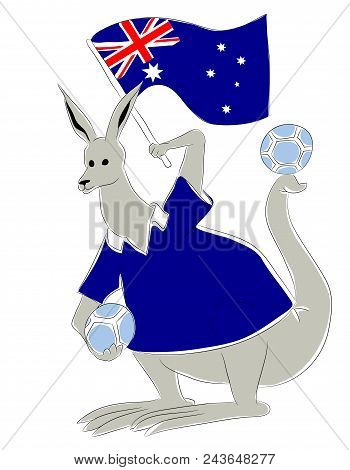 Soccer Mascot For Australia.  Australia Kangaroo Mascot For Football Tournaments