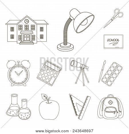 School And Education Outline Icons In Set Collection For Design.college, Equipment And Accessories V