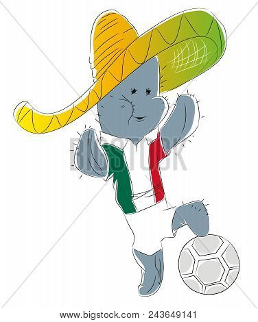 Soccer Mascot For Mexico.  Mexico Cactus Mascot For Football Tournaments