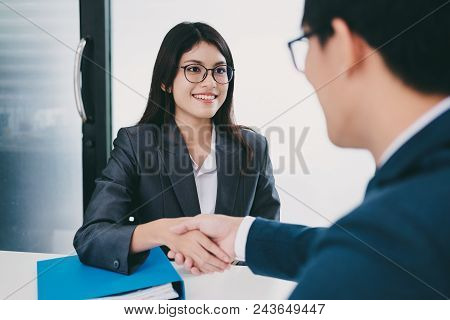 Job Applicant Having Interview. Handshake While Job Interviewing.