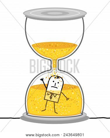 Vector Cartoon Businessman In A Big Hourglass