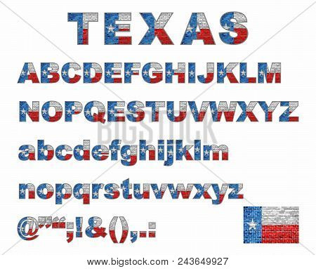 Texas Flag Font On A Brick Wall - Illustration, Stylized Alphabet With Flag Of Texas,  Flag Of Engli