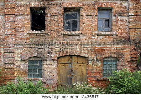 Facade of the destroyed building in Sevsk Bryansk region Russia poster