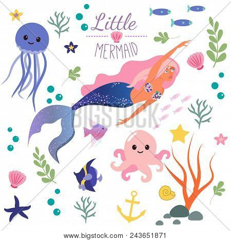 Cute Set Little Mermaid And Underwater World. Fairytale Princess Mermaid And Octopus, Fish, Jellyfis
