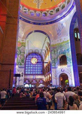 March 24, 2018, Aparecida, São Paulo, Brazil, Pilgrims In The Interior Of The Basilica Of Our Lady A