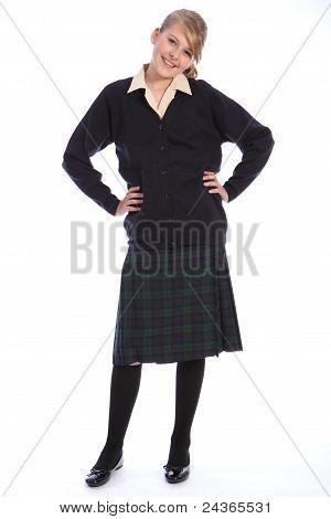 Secondary School Uniform On Happy Teenage Girl