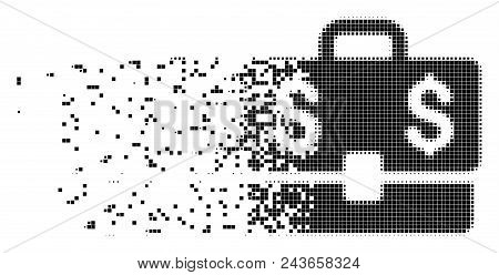 Dispersed Accounting Case Dotted Vector Icon With Erosion Effect. Rectangle Fragments Are Arranged I