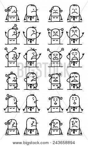 Vector Cartoon Characters Set - Unhappy And Sad Faces