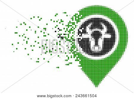 Fractured Cow Marker Dotted Vector Icon With Wind Effect. Rectangle Points Are Grouped Into Disperse