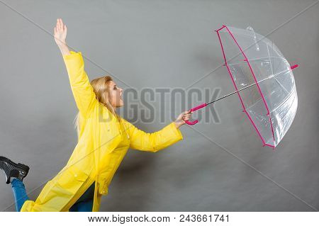 Rainy Autumn Day Accessories Ideas Concept. Shocked Woman Holding Opening Clear Transparent Umbrella