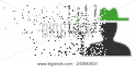 Fractured Farmer With Pitchfork Dot Vector Icon With Wind Effect. Rectangle Cells Are Arranged Into