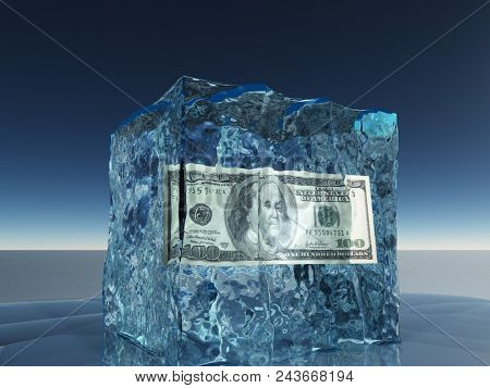One hundred dollar bill frozen in ice cube. 3D rendering