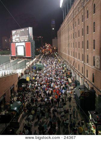 Crowd Of People Leaving