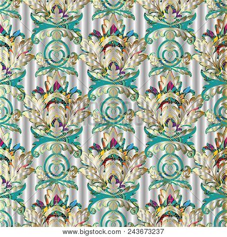 Baroque Vector Seamless Pattern. Elegance Silver Floral 3d Background.  Vintage Foliage Damask Ornam