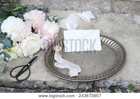 Styled Stock Photo. Feminine Wedding Still Life Composition With Vintage Silver Tray, Old Scissors A