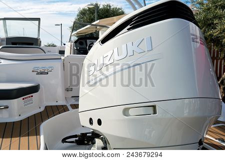 Santa Eulalia, Spain - April 30, 2018: Boat Show In The Port Of Santa Eulalia. Santa Eulalia Is A Be