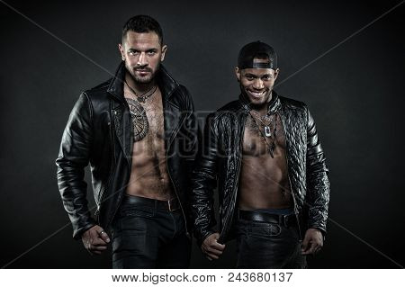 Masculinity And Brutality Concept. Men On Smiling Faces With Bristle. Machos With Muscular Torsos Lo