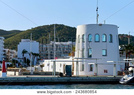Santa Eulalia, Ibiza Island - April 30, 2018: Port Of Santa Eulalia. Santa Eulalia Is A Beautiful To