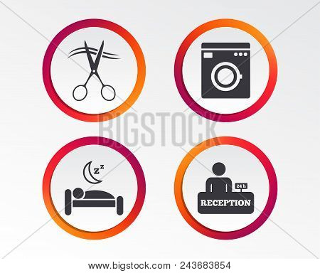 Hotel Services Icons. Washing Machine Or Laundry Sign. Hairdresser Or Barbershop Symbol. Reception R