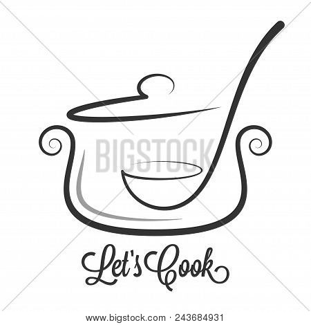 Pan With Ladle Ornate. Kitchen Spoon In A Saucepan Pot On White Background 8 Eps