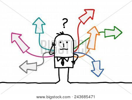 Wondering Cartoon Man With Multi Directions Illustration
