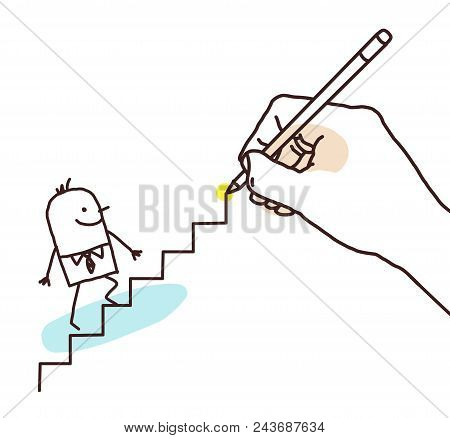 Drawing Big Hand - Cartoon Businessman Going Up Illustration