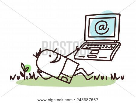 Happy Cartoon Man Relaxing With His Laptop Illustration